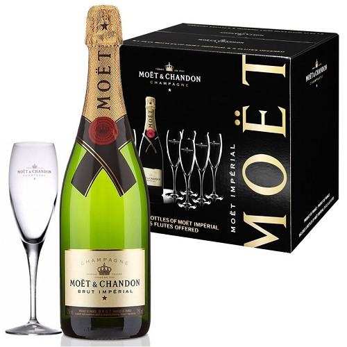 MOET Chandon   brut 6 x 0,75  + 6 ks skleniček