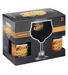 KASTEEL  DONKER + TRIPEL 22° dárkový set 4 x 0,33  sklo + sklenice/ 11 %  belgické pivo