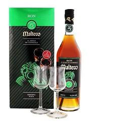 MALTECO rum zlatý 15 Y Reserva Maya 40% 0,7 l + 2 sklo
