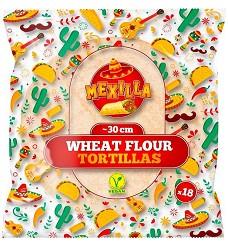 Pšeničná tortilla  30  cm  18 ks a 80 g  - 1440 g  - VEGAN